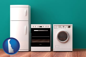 major appliances on a hardwood floor - with Delaware icon
