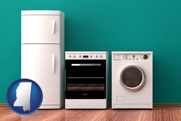 major appliances on a hardwood floor - with Mississippi icon