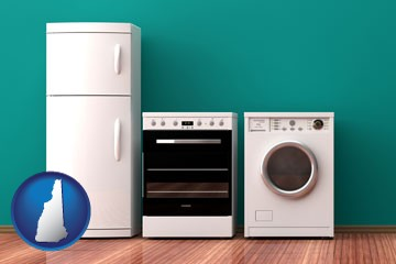 major appliances on a hardwood floor - with New Hampshire icon