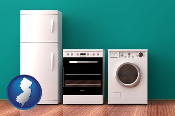 major appliances on a hardwood floor - with New Jersey icon
