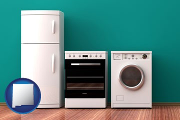 major appliances on a hardwood floor - with New Mexico icon