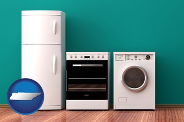 major appliances on a hardwood floor - with Tennessee icon