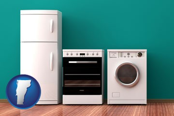 major appliances on a hardwood floor - with Vermont icon