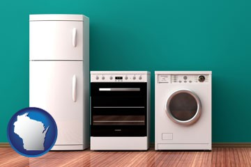 major appliances on a hardwood floor - with Wisconsin icon