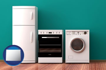 major appliances on a hardwood floor - with Wyoming icon
